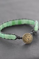 Adventurine Leather Wrap Bracelet