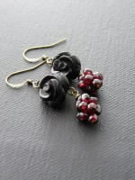 Berry Garnets & Black Agate Carved Rose Earrings