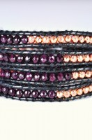Black Leather Wrap Bracelet & Garnet CZ