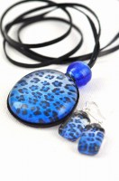 Blue Leopard Leather Set