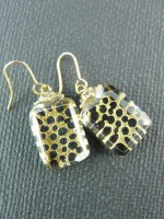 Gold & Black Spot Earrings