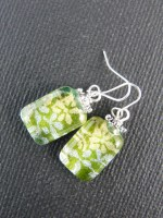 Green & Silver Floral Earrings