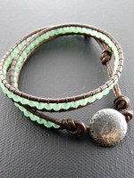 Adventurine Brown Leather Wrap Bracelet