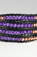 Black Leather Wrap Bracelet & Amethyst CZ